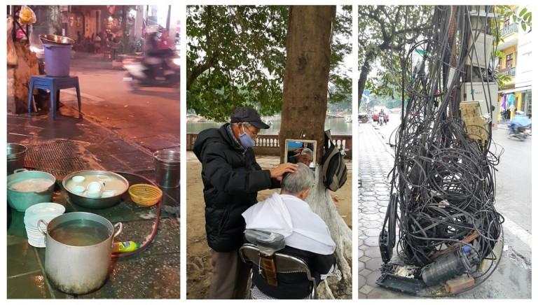 Atividades diversas nas calçadas de Hanói, Vietnã