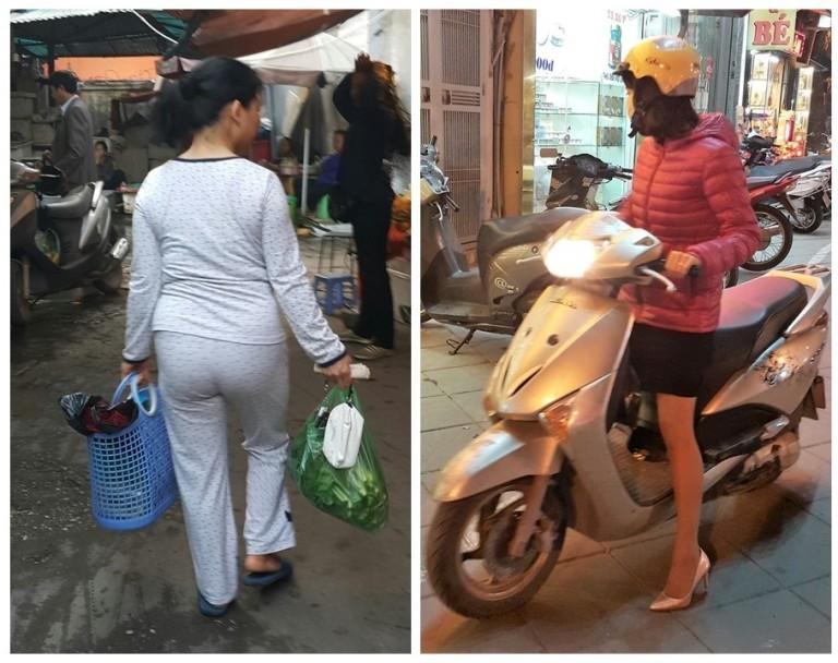 Mulher de pijama na rua - mukher de salto na scooter
