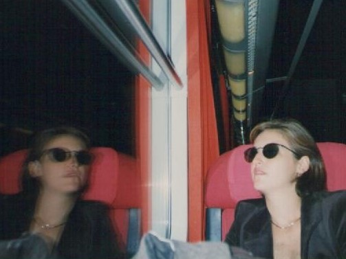 girl in the train - digitalized photo from the 90's