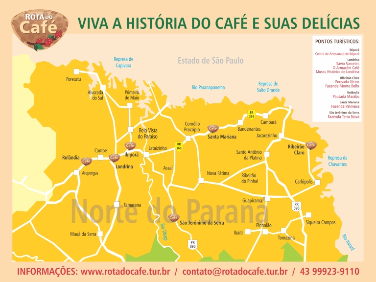 map - coffee route Brazil